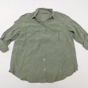 Chico's 3 Green Button Down Top  Modal Blend